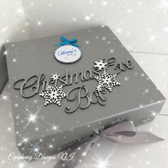 Christmas Eve Box with personalised bauble silver and blue By Epiphany Designs NI