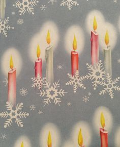 Vintage Christmas Wrapping Paper - Patriotic Red and Blue Burning Christmas Candles - Snowflakes - 1 Unused Full Sheet Christmas Gift Wrap