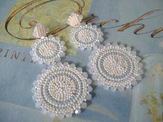 Seed Bead Double Disc Post Earrings  Opal Goddess by WorkofHeart