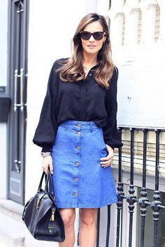 falda vaquera, tendencia, trend, personal shopper mallorca, blog zapatos, falda botones, tendencia años 70