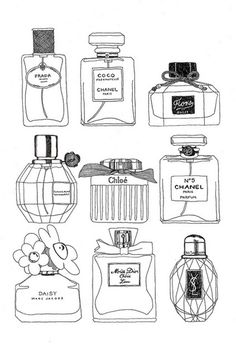 Wouldn't this perfume bottle sketch be adorable framed at your vanity?