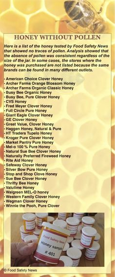 "Wow.  For real honey (which contains pollen), look for ""raw"", ""unfiltered or untreated"", ""locally produced"", or ""True Source Certified""."