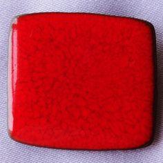 Vintage ALICE LUND (Denmark) Fiery Red Glazed Ceramic Brooch