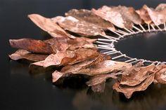 Sarah Hood : sterling silver, magnolia leaves, linen