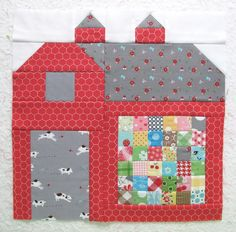 100 Brilliant Projects to Upcycle Leftover Fabric Scraps - Rab House Quilt Block, House Quilts, Quilt Blocks, Quilt Block Patterns, Pattern Blocks, Paper Piecing, Quilting Projects, Quilting Designs, Farm Quilt