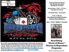 "Midlothian, TX - May 28, 2016: Veteran Benefit ""Horsepower"" Poker Run. All proceeds will be used to provide Counseling and Therapeutic Horseback Riding to veterans and their dependents for free at Paws for Reflection Ranch."