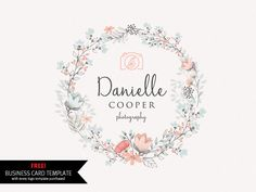 Photography logo design Watercolor floral wreath by CaitlinsMedia
