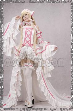 White Deluxe Chobits Chi Prom Dress Cosplay Costumes