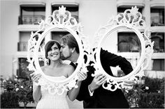 """taking the """"Holding the frame in the photo"""" idea up a notch. Love.  Ornate wedding frames available for rent @ Tarabrook Events"""
