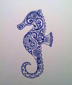 Paisley seahorse, by iluvsparkles  #doodle