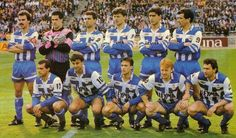 Temporada 1991/92 De izqda a dcha de pie: Martin Lasarte, Yosu, Antonio, Djukic, Albistegui, Claudio. Agachados : Azpiazu, Fran, Mariano, Kiriakov y López Rekarte.