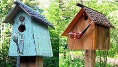 handmade wooden bird house design ideas, yard decorations recycling wood