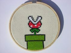 Mario piranha plant cross stitch by spike_fan, via Flickr