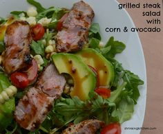 Grilled Steak Salad with Corn & Avocado {Sous Vide} from Shrinkingkitchen.com #healthy #salad #recipe