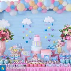 Clouds and rain Rainbow Birthday, Unicorn Birthday, Unicorn Party, Baby Birthday, First Birthday Parties, Cloud Party, Fiesta Baby Shower, Baby Shower Parties, Rainbow Parties