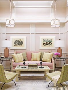 Design by Hillary Thomas and Jeff Lincoln; House Beautiful. Seems unusual, but I love pale pinks in rooms other than little girls. I have a similar pink in my master bedroom. Temper it with olives, salmons, or even chartreuse or teal