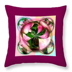 "Pink Flower Glow Throw Pillow 14"" x 14"" by Pamela Walton"