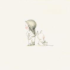 처음(First time) by 꼬닐리오 on Grafolio Korean Illustration, Cute Cartoon, Painting Inspiration, Art Sketches, Playground, First Time, Composition, Rabbit, Bunny