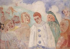 The Despair of Pierrot is an Expressionist Oil on Canvas Painting created by James Ensor in It lives in a private collection. The image is tagged Clowns and Masks. Pierrot Costume, James Ensor, Art Du Cirque, Carpeaux, Chaim Soutine, Skeleton Drawings, Catalogue Raisonne, Social Art, Paintings I Love