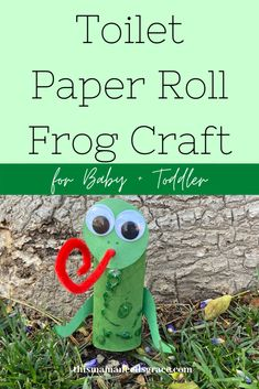 This simple cute and frog craft uses a toilet paper roll and only a few other materials.  A fun craft for your toddler to play with and learn about the color green and frogs! #ColorGreen #FrogCrafts #ToddlerActivities