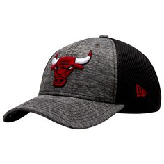 fbf61bc3814 Chicago Bulls Marled Grey and Black Primary Logo Adjustable Hat