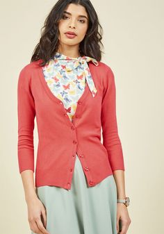 Charter School Cardigan in Coral