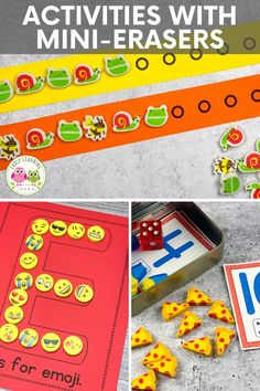 Do you want to know what to do with mini erasers?  Get free mini-eraser sorting mats Preschool Activities At Home, Motor Skills Activities, Counting Activities, Alphabet Activities, Preschool Math, Literacy Activities, Color Activities, Toddler Activities, Learning Stations