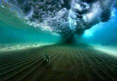 Under a breaking wave