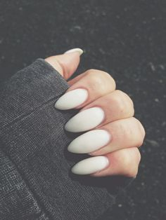 Matte white almond nails