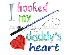 Baby shower gift Hooked Daddy's heart baby bodysuits
