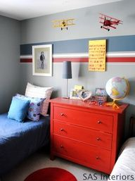 Boys Room with tutorial on how to paint stripes on the wall