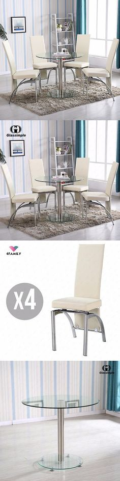 Dining Sets   Piece Round Glass Dining Table Set  Chairs