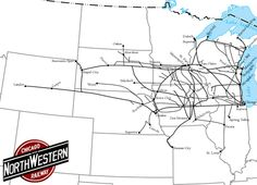 Chicago and North Western Railway System Map. I've lived near the C&NW for much of my life. But it's been the Union Pacific for years. Us Railroad Map, Union Pacific Railroad, Railroad History, N Scale Model Trains, Model Train Layouts, Train Map, System Map, Railroad Companies, America