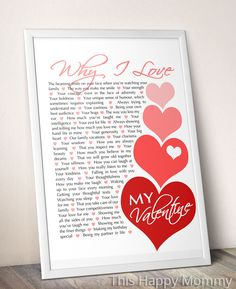 Why I Love My Valentine -- The perfect Valentine's Day gift! It's filled with hearts and all the reasons that you love your Valentine. | thishappymommy.com
