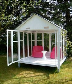 Repurposed windows outdoor room. source: apartmenttherapy.com  Repurposed windows outdoor room: though this is a bit more ambitious, the idea is strong and beautiful. I venture to suggest that this same room could be created with a less permanent roof (possibly tented with canvas or sheer fabric?) and the windows could even be attached to an already existing patio arbor.
