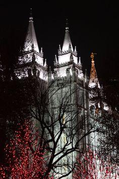 Temple Square at Christmas time, Salt Lake Temple