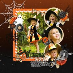 #papercrafting #scrapbook #layout idea: Witchy Woman Halloween scrapbook layout