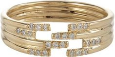 Jennie Kwon Pavé Diamond & Gold Stacked Cutout Ring on shopstyle.com