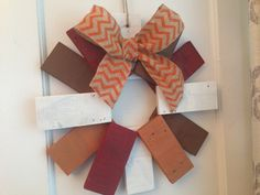 Distressed Rustic Autumn Fall Hanging Wreath made from Repurposed Pallet Wood Reclaimed on Etsy, $42.00