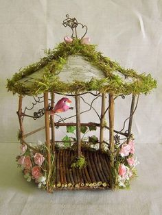 Fairy Garden Doll House Wood TWIG & Birch SMALL GAZEBO W PINK FAIRY ROSES/ BIRD