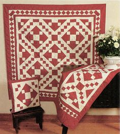 Red Diamond Square Quilts