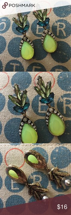 Just In🍍New Unique earrings🍍 Beautiful Modern dangle earrings in Antique Gold tone, Yellow & Green accents. ‼️Bundle & Save‼️Look at pictures for size please, thanks! karen1177 Jewelry Earrings