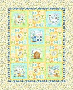 Quilting Bee Fabric Quilt Michelle Palmer Designer for Red Rooster Fabrics Bee Skep, hive forget me nots garden quilts