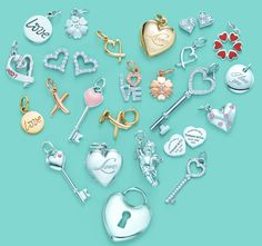 Pretty Tiffany and Co. heart collage of their pretty charms and trinkets