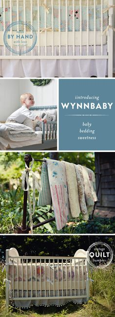 LOVE these one of a kind hand sewn vintage crib linens.  Bumpers made from old quilts!!