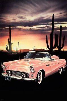 1956 Ford Thunderbird Convertible in Sunset Coral color starts the day in the cool of the desert Title of Art New Day By Artist Mark Watts – Table-Art Studios Vintage Cars, Antique Cars, Vintage Room, Retro Cars, Ford Classic Cars, Ford Thunderbird, Ford Trucks, Sport Cars, Custom Cars