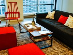 Paint the office red! ... Or just add a few red pieces to your seating area!