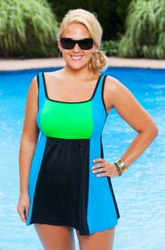 When you take neon color block and pair it with Always For Me In Control swimwear, you get a sizzlingly supportive plus size swimsuit.  This sporty plus size swimdress is available in cool toned colors
