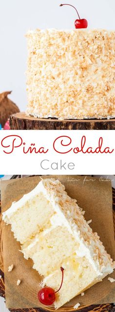 This Piña Colada Cake turns your favourite tropical cocktail into one delicious dessert! Rum flavoured cake and frosting paired with pineapple filling and toasted coconut. | livforcake.com
