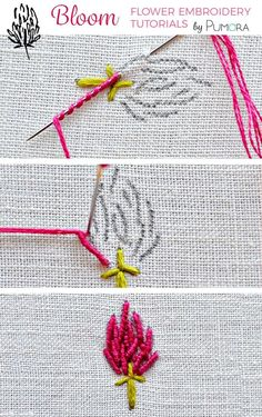 bullion stitch clover flower embroidery tutorial by alta